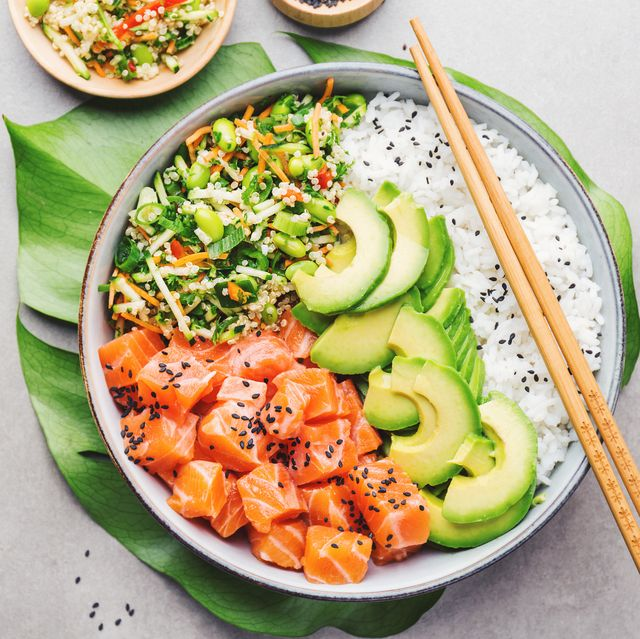 slimming world syns poke bowl with rice, avocado and salmon