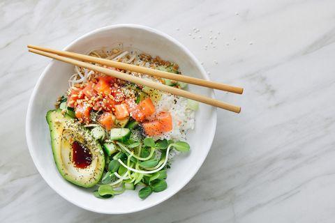 Poke rice bowl with ponzu dressing