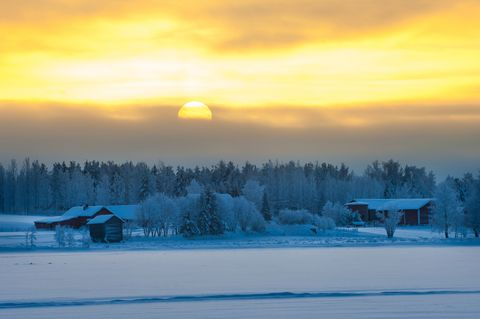 Polar winter dusk landscape