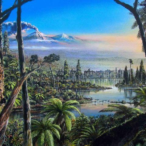 Nature, Natural landscape, Sky, Shore, Tree, Coast, Landscape, Bay, Jungle, Painting,