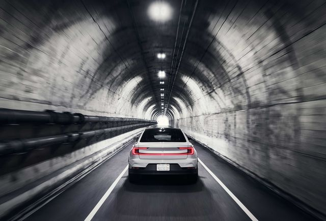the polestar 2 electric performance car in a tunnel