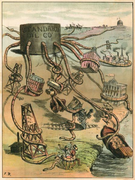 political cartoon lampoons standard oil