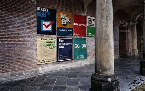 verkiezingsposters op het binnenhof