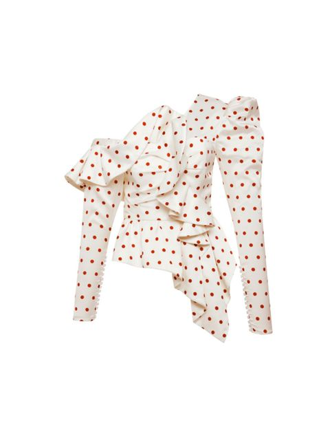 Clothing, Outerwear, Pattern, Polka dot, Orange, Sleeve, Blazer, Design, Jacket, Peach,