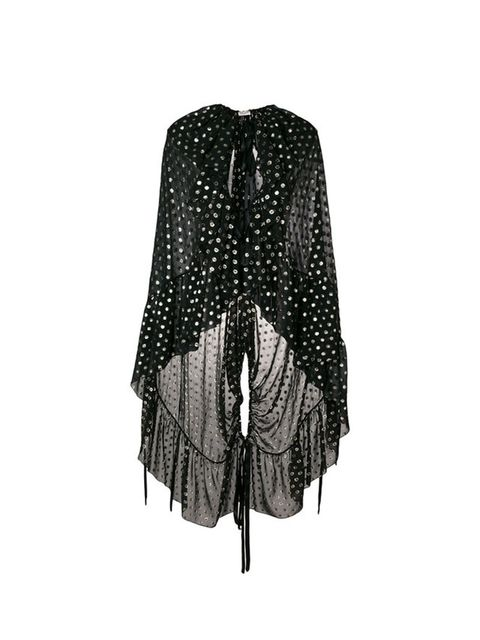 Clothing, Black, Outerwear, Pattern, Design, Poncho, Shawl, Fashion accessory, Sleeve, Polka dot,