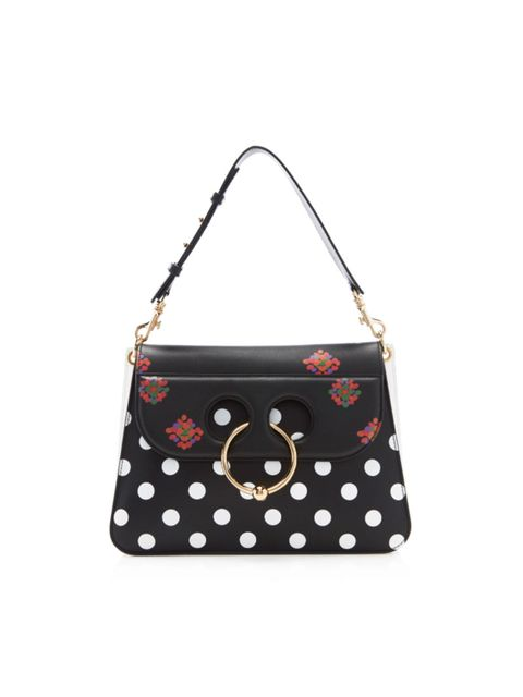 Handbag, Bag, Shoulder bag, Pattern, Fashion accessory, Polka dot, Design, Material property, Font, Pattern,