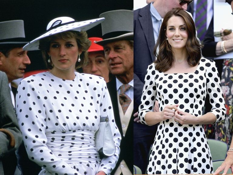 Princess Diana wearing a white dress with black polka dots (designed by Victor Eldelstein) on Derby Day 1986 and Kate Middleton wearing Dolce & Gabbana at Wimbledon in 2017.