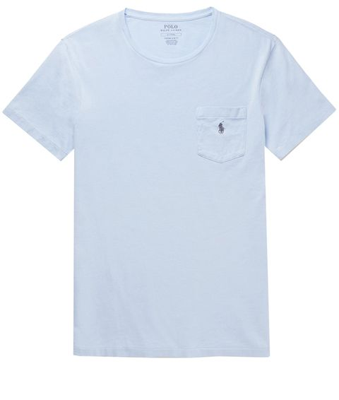 T-shirt, Clothing, White, Blue, Sleeve, Active shirt, Product, Pocket, Top,