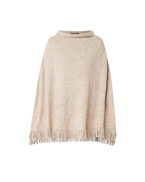 Clothing, Outerwear, Beige, Poncho, Neck, Sleeve, Fur, Wool, Sweater,