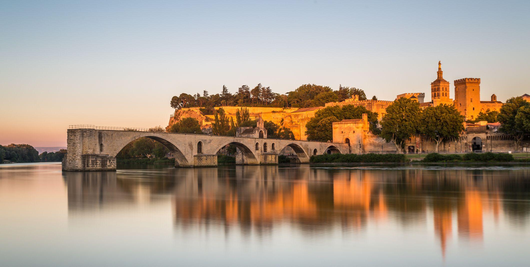 Pont Saint-Benezet on Rhone River and Avignon Cathedral at sunset,Avignon