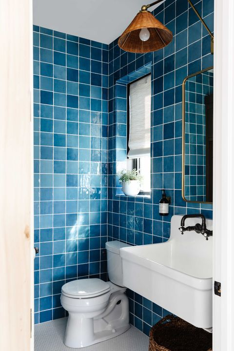 bathroom, blue tiles, white bathroom sink