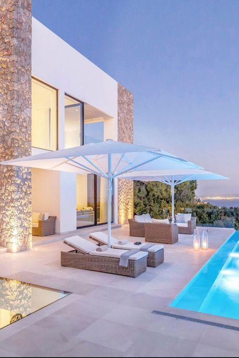 modern pool patio at night