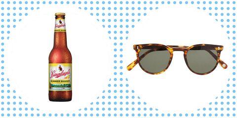 Eyewear, Glasses, Sunglasses, Bottle, Beer bottle, Glass bottle, Drink, Beer, Label,