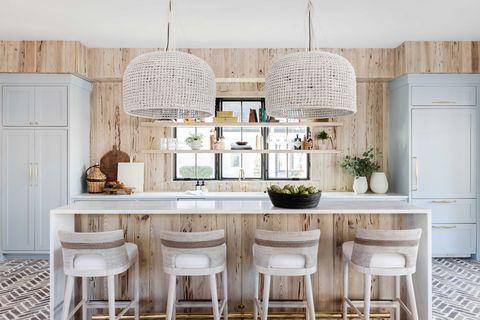 kitchen, blue cabinets
