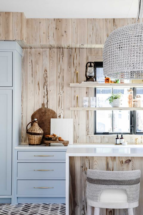 kitchen, blue cabinets, white countertops with wooden backsplash