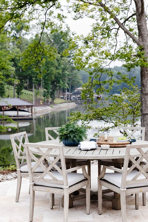outdoor dining table, wooden table and chairs