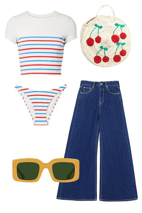 Clothing, Eyewear, Jeans, Denim, Glasses, Sunglasses, T-shirt, Textile, Sleeve, Dress,