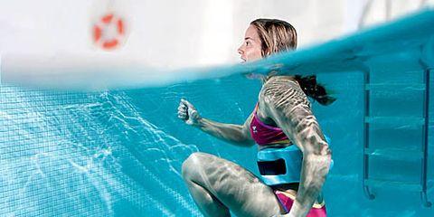 woman running in pool