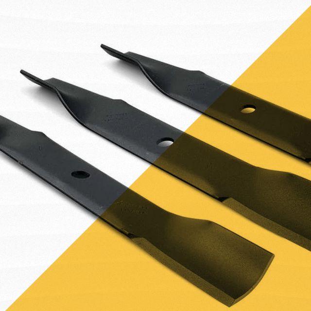 three black lawn mower blades