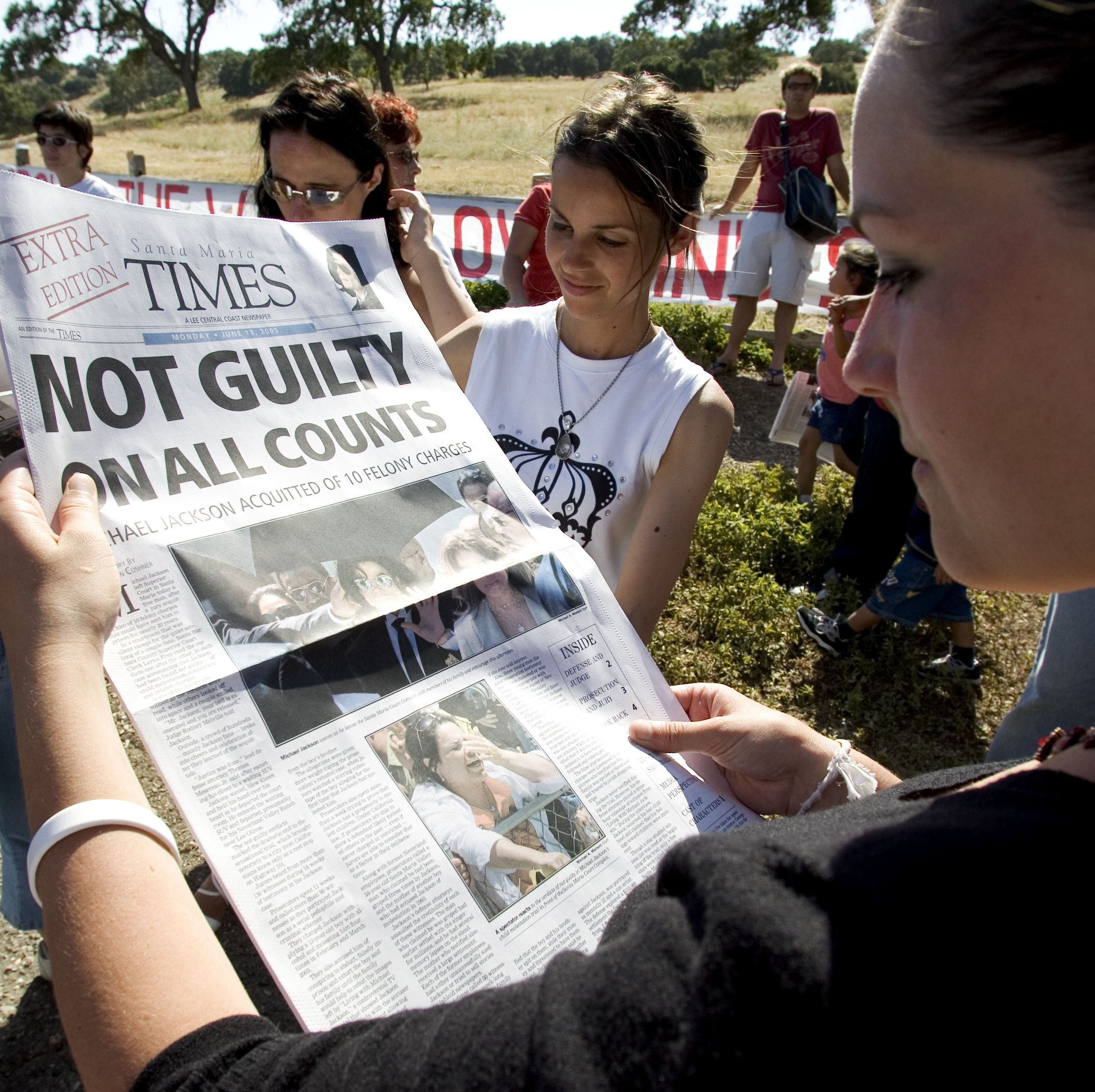 The front page of the Santa Maria Times reports the trial's verdict.
