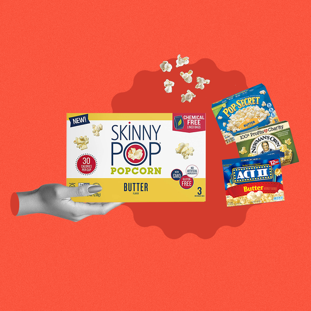 skinny pop, pop secret, newmans own and act ii butter popcorn