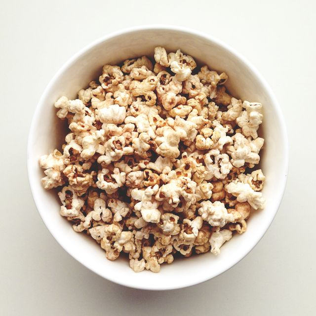 overhead shot of popcorn in a bowl