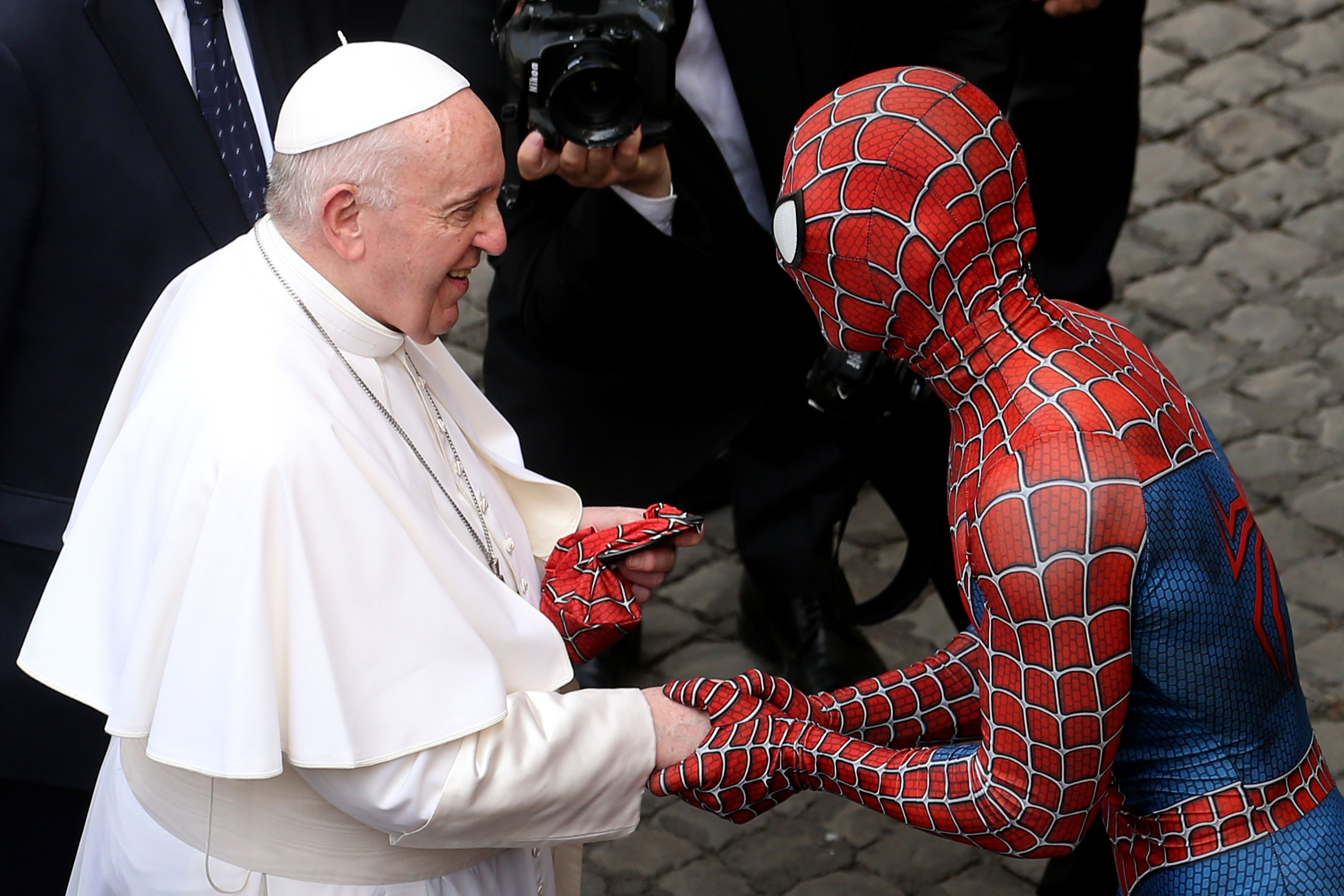 Spider-Man Swung by The Vatican to Meet Pope Francis