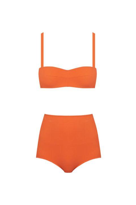 Clothing, Orange, Swimwear, Bikini, Swimsuit bottom, Undergarment, Lingerie, Briefs, Brassiere,