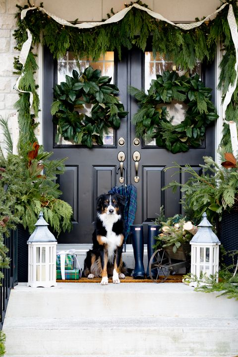 front porch christmas decorations - Front Door Christmas Decorations Ideas