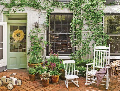 Porche decorado con plantas trepadoras y flores