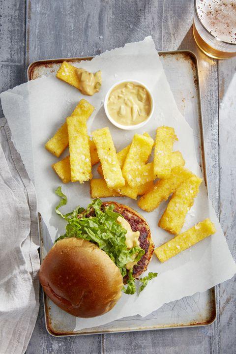 pork burger with crispy grits fries