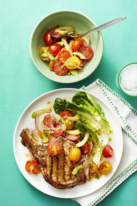 pork chops with bloody mary tomato salad  memorial day recipes