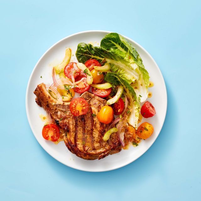 pork chops with bloody mary tomato salad