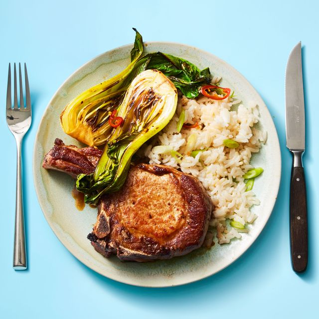 pork chops with bok choy and coconut rice