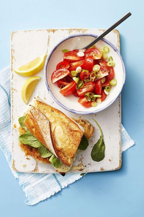 pork recipes   pork milanese sandwich with tomato salad