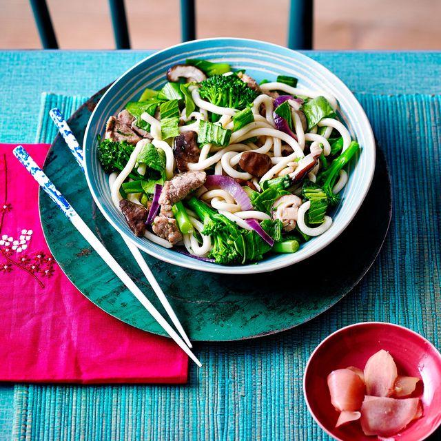 pork and mushroom yaki udon