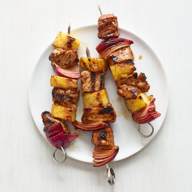 pork, pineapple, and red onion kebabs recipe