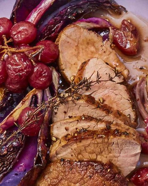 Pork Tenderloin with Roasted Red Grapes and Cabbage