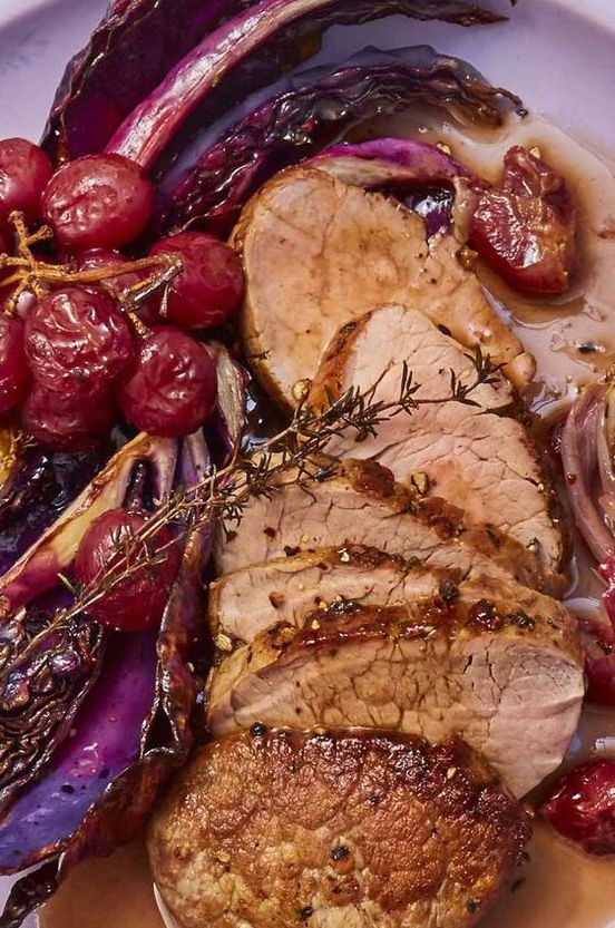 gluten free dinner - Pork Tenderloin with Roasted Red Grapes and Cabbage
