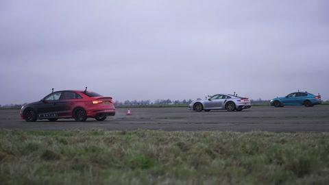 drag race audi rs3, bmw m5 y porsche 911