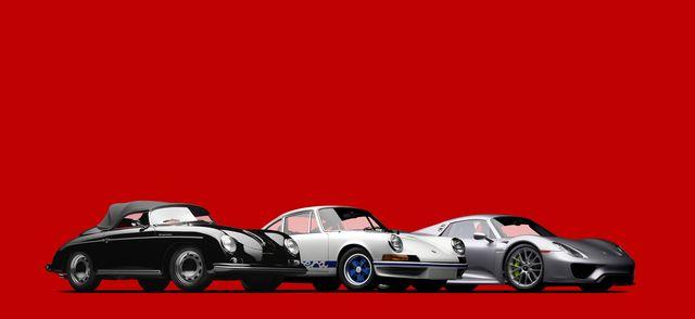 porsche 356 speedster, 911 27 rs, 918 spyder