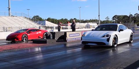 porsche taycan turbo vs lamborghini huracan evo drag race