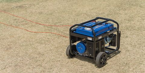Portable gasoline power generator and wires outdoor