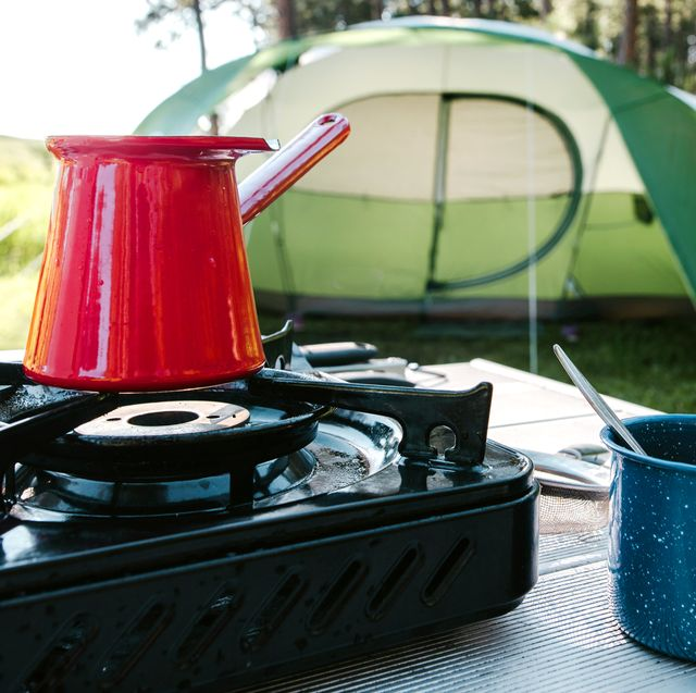portable stove at camping site