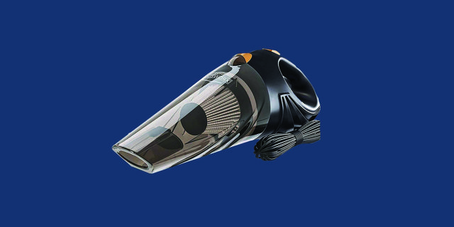 portable car vacuum cleaner with blue background
