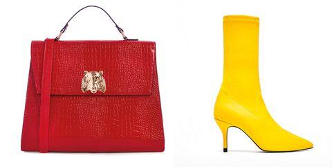 Footwear, Yellow, Handbag, Bag, Red, Fashion accessory, Shoe, Material property, High heels, Font,