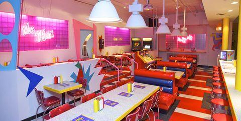 Restaurant, Room, Interior design, Building, Furniture, Fast food restaurant, Table, Diner, Ceiling, Business,