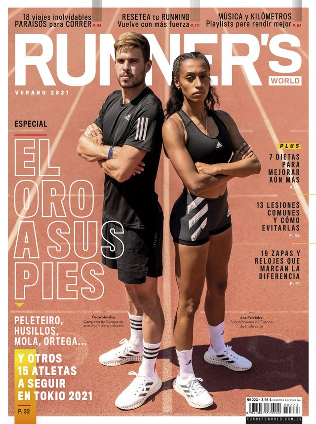 portada de runner's world de junio de 2021 con ana peleteiro y óscar husillos, edicion olimpica