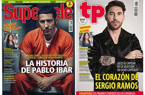 Portadas de Supertele y TP. Miguel Ángel Silvestre y Sergio Ramos