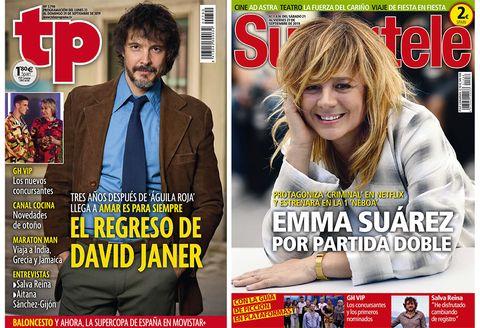 Portadas de Supertele y TP. David Janer y Emma Suárez